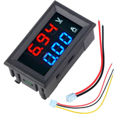 3 pcs nMini Digital Voltmeter Ammeter DC 100 V 10A Voltmeter Current Meter Tester Biru + Merah Dual LED Display
