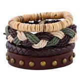 Bohemian Weave hennep touw armband Wijnoogst meerlagige koeienhuid