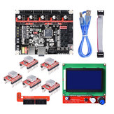 SKR V1.3 Placa-Mãe de 32 Bits Smoothieboard + 12864 LCD Display + Kit 5xA4988 para Impressora 3D