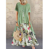 Vintage manga curta O-pescoço Imprimir Patchwork Pocket Long Maxi Dress For Women