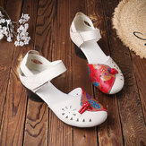 Women Folkways Breathable Hollow Genuine Leather Hook Loop Low Heels Sandals