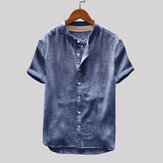 Mens Vintage Single-breasted Short Sleeve Shirts