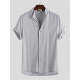 Men Linen Loose Casual Collarless Tops Holiday Casual Shirts