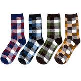 Herren Männer Stückeln Farben Plaid Weiche Gasdurchlässige Baumwolle Beiläufige Rohr Socke Strumpf