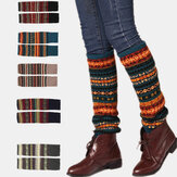 Women Wool Plus Thicken Keep Warm Stripe Pattern Winter Boots Cover Leggings Socks Stockings