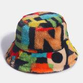 Regalo di Natale unisex Pelliccia di coniglio Contrasto colore Numero stampa Cappello da pescatore visiera moda all'aperto casual