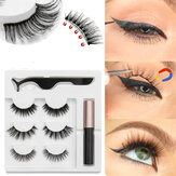 3 Pairs Magnetic Eyelashes with 1Pc Magnetic Liquid Eyeliner with 1Pc Tweezers Waterproof Long Lasting Eyelashes Extension False Eyelashes