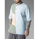 Męskie koszulki w kolorze 100% bawełny ze stójką Oddychające codzienne koszulki