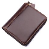 Women Men Genuine Leather Card Organ Shape Card Bag Purse