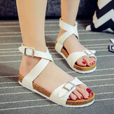 Women Solid Color Cross Buckle Strap Soft Cork Sandals