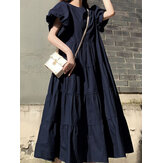 Women Puff Sleeve Round Neck Tiered Simple Solid Color Pleated Maxi Dresses