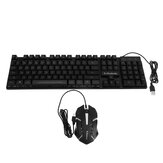 KM320 Waterproof 104key LED USB Wired Gaming Keyboard & 1000DPI Mouse Combo Set Multi-Colored Changing Backlight Mouse for Computer Desktop Notebook