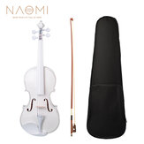 NAOMI 4/4 Full Size Plywood Violin Fiddle White Acoustic Violin Set