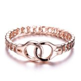 Creative Handcuffs Linkded Rose Gold Finger Rings Simple