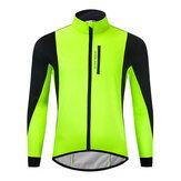 WOSAWE Giacca da ciclismo invernale in pile termico caldo MTB Abbigliamento da bici da strada Giacca a vento antivento impermeabile in jersey lungo