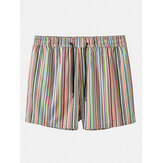 Mens Multicolor Striped Pocket Holiday Casual Drawstring Board Shorts