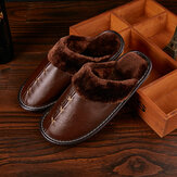 Cow Leather Men Couple Winter Slippers Warm Fuzzy House Slippers Fleece Lined Home Shoes