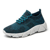 Men Knitted Fabric Breathable Light Weight Sport Running Shoes