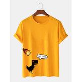 T-shirt casual o-collo con stampa di dinosauro divertente cartone animato 100% cotone da uomo