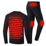 30-50℃男性女性電気加熱下着セットシャツ+ズボン下着冬暖かい加熱衣類熱屋外ハイキングスキーオートバイサイクリングトップスパンツスーツ
