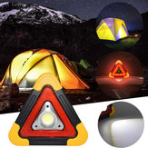 Portable COB LED Work Light Multi-function Triangle Warning Traffic Lamp Camping Searchlight