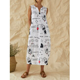 Cartoon Fun Graffiti Print sin mangas con cuello en V casual Vestido con bolsillo