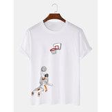Astronaut Shooting Cartoon Print Rundhalsausschnitt T-Shirts mit Rundhalsausschnitt