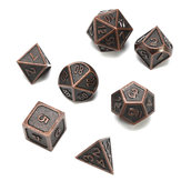 ECUBEE Metal Sólido Polyhedral Dice Antique Cor Role Playing RPG Gadget 7 Dados Conjunto Com Bolsa