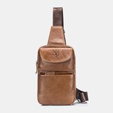 Bullcaptain Vintage Genuine Leather Chest Bag Shoulder Bag For Men