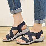 LOSTISY Women Comfy Cross Elastic Strap Soft Sports Sandals