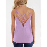 Solid Color Criss-cross Backless Design Sleeveless Cami Tank Tops