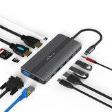 Blueendles HP1201 HUB multi-ports USB-C Type C Hub adaptateur USB avec 1 * DP / 1 * HDMI / 1 * VGA / 1 * RJ45 / 1 * SD / 1 * TF /3*USB3.0 / 1 * USC-C (Type-C ) / 1 * 3,5 mm audio / 1 * PD USB-C