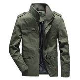 Mens Cotton Multi-pocket Autumn Outdoor Cargo Jacket