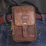 Męskie oryginalne skórzane wielofunkcyjne Vintage 6,3-calowy futerał na telefon Odporne na zużycie saszetki ze skóry bydlęcej