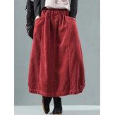 女性のヴィンテージコーデュロイ弾性ウエストバギー冬のスカート