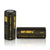 4pcs Basen BS26003 26650 4500mah 3.7V 60A Unprotect Flat Top Rechargeable Li-ion Battery