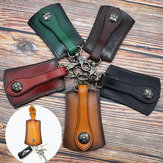 Men Genuine Leather Vintage Outdoor Casual Belt Key Bag