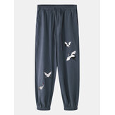 Männer Casual White Crane Stickerei Home Harem Hose