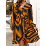 Striped V-neck Irregular Hem Casual Mini Dress