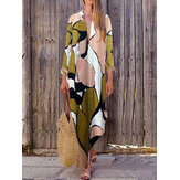 Bohemian Women Long Sleeve V Neck Daily Casual Floral Print Maxi Dress