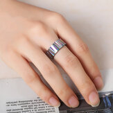 Punk Colorful Wire Drawing Stainless Steel Finger Rings
