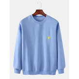 Mens Cotton Weather Symbol Embroidery Round Neck  Long Sleeve Pullover Simple Sweatshirt