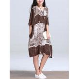 Robe de poche style femme en coton à imprimé caftan