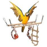 Pájaro de madera Loro Perico Cockatiel Escalera Hamaca Columpio Masticar Juguetes para colgar