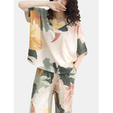 Plus Size Women 100% Cotton Allover Flower Print Two Pieces Pajama