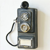 Vintage Retro Rotary Telefone Statue Wall Corded Phone Figurines Ornamentos Office Decor Crafts Gift