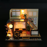 DIY Dollhouse Miniature Wooden Møbler LED Kit Japansk Style Håndværk Toy Doll House Gift