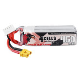 CODDAR 14.8V 450mAh 90C 4S Lipo Battery XT30 Plug for Toothpick Indoor Whoop