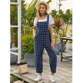 Women Grid Adjustable Strappy Sleeveless Casual Jumpsuits With Flap Pocket