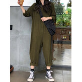 Casual Women Cotton Pure Color Button Long Sleeve Jumpsuit